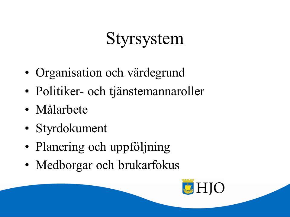 Styrsystem •Organisation och värdegrund •Politiker- och tjänstemannaroller •Målarbete •Styrdokument •Planering och uppföljning •Medborgar och brukarfo