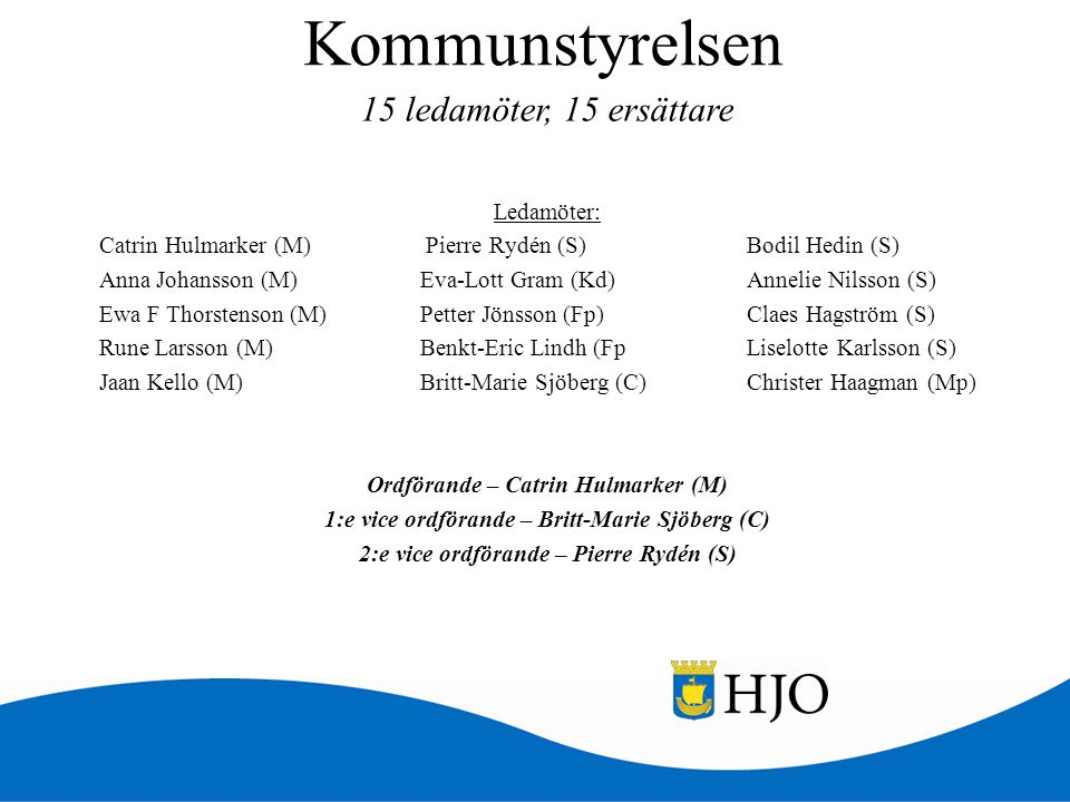 Kommunstyrelsen Ledamöter: Catrin Hulmarker (M) Pierre Rydén (S) Bodil Hedin (S) Anna Johansson (M)Eva-Lott Gram (Kd) Annelie Nilsson (S) Ewa F Thorst