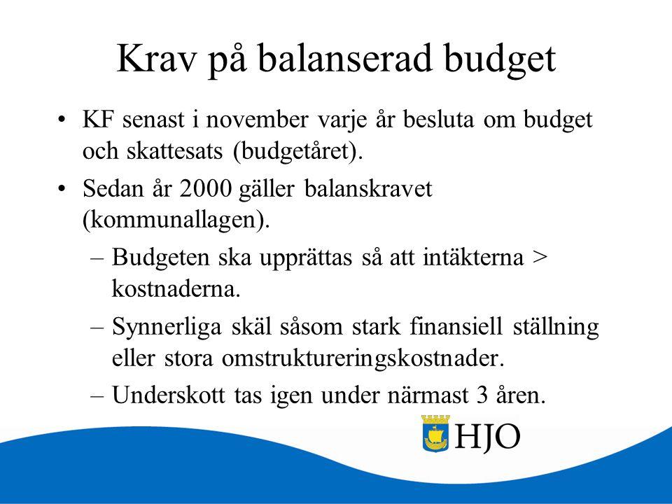 Krav på balanserad budget •KF senast i november varje år besluta om budget och skattesats (budgetåret). •Sedan år 2000 gäller balanskravet (kommunalla
