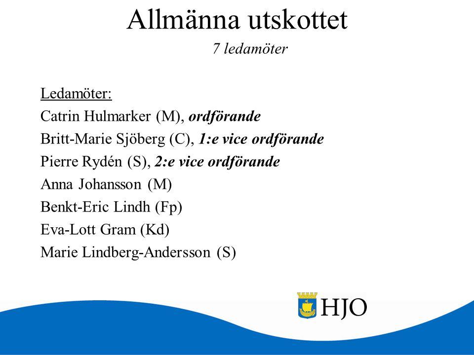Allmänna utskottet Ledamöter: Catrin Hulmarker (M), ordförande Britt-Marie Sjöberg (C), 1:e vice ordförande Pierre Rydén (S), 2:e vice ordförande Anna