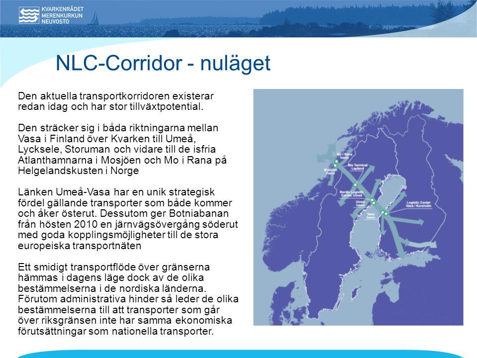 NLC-Corridor - nuläget Den aktuella transportkorridoren existerar redan idag och har stor tillväxtpotential. Den sträcker sig i båda riktningarna mell
