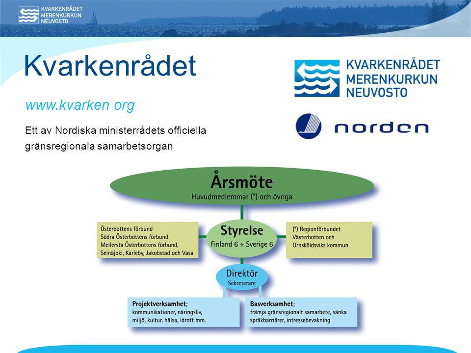 • Gränsöverskridande samarbete mellan Finland, Sverige och Norge • Ett av cirka 70 program inom Europeiskt territoriellt samarbete Prioriterade områden 1.