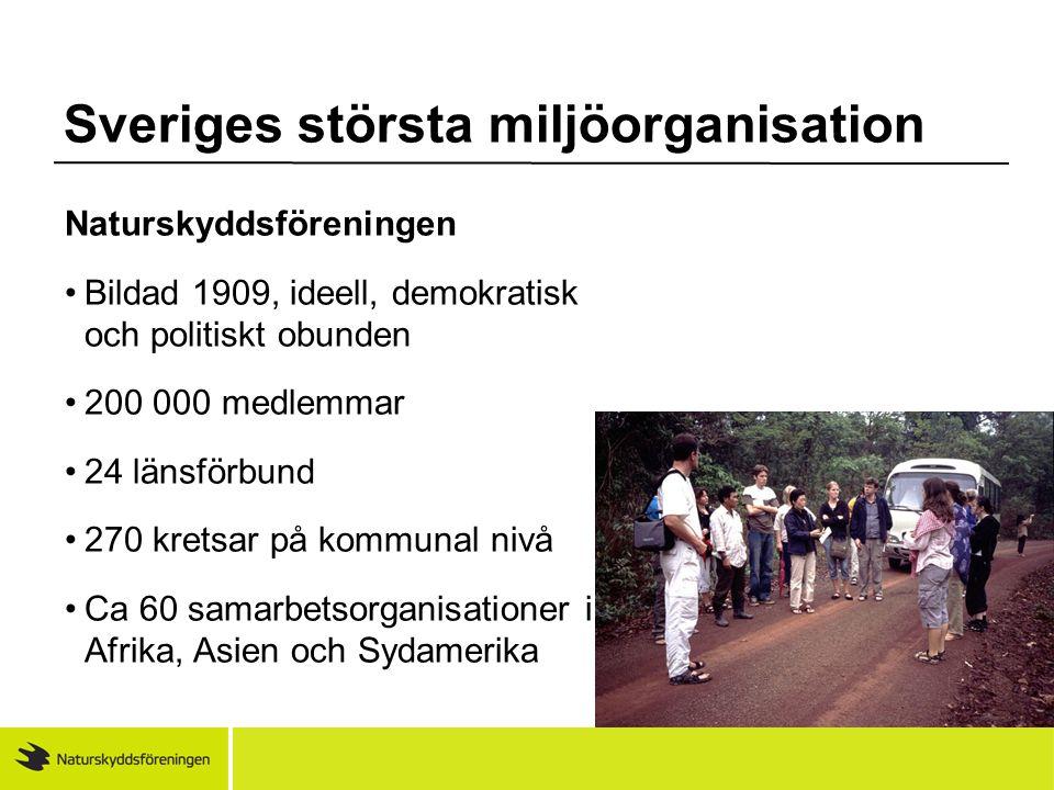 Sveriges största miljöorganisation Naturskyddsföreningen •Bildad 1909, ideell, demokratisk och politiskt obunden •200 000 medlemmar •24 länsförbund •2