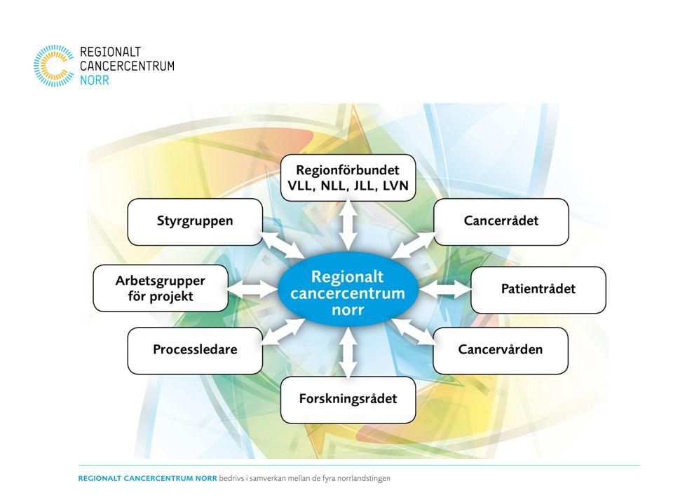 Samverkan – regiongemensamma planer På gång: •Norra regionens första utvecklingsplan för cancervården •Regional nivåstruktureringsplan •Regional kompetensförsörjningsplan 2