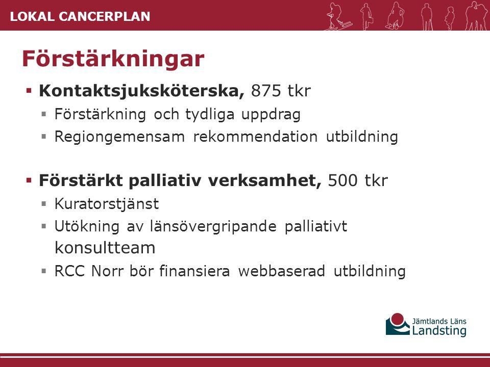 LOKAL CANCERPLAN  Kontaktsjuksköterska, 875 tkr  Förstärkning och tydliga uppdrag  Regiongemensam rekommendation utbildning  Förstärkt palliativ v