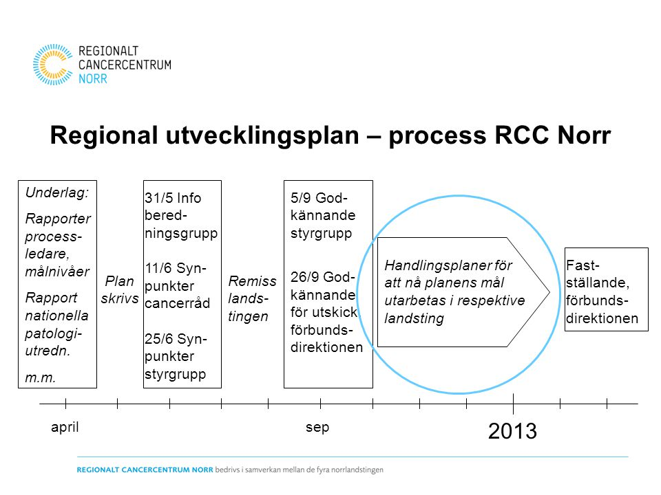 Regional utvecklingsplan – process RCC Norr 2013 Underlag: Rapporter process- ledare, målnivåer Rapport nationella patologi- utredn. m.m. aprilsep 31/
