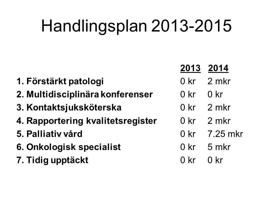 Handlingsplan 2013-2015 2013 2014 1. Förstärkt patologi0 kr2 mkr 2. Multidisciplinära konferenser0 kr0 kr 3. Kontaktsjuksköterska0 kr2 mkr 4. Rapporte