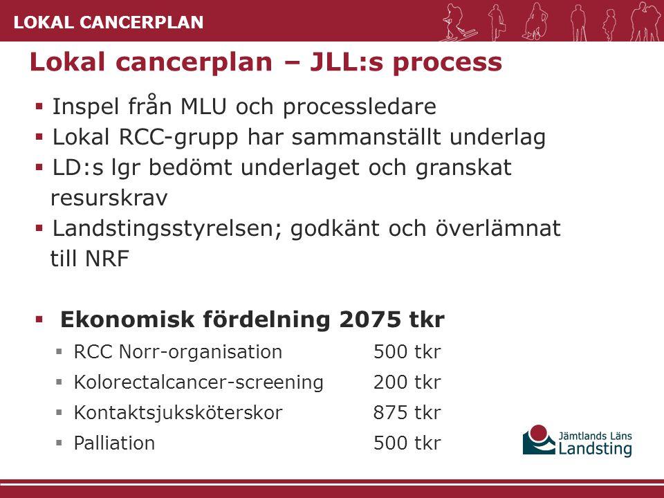 LOKAL CANCERPLAN  Inspel från MLU och processledare  Lokal RCC-grupp har sammanställt underlag  LD:s lgr bedömt underlaget och granskat resurskrav