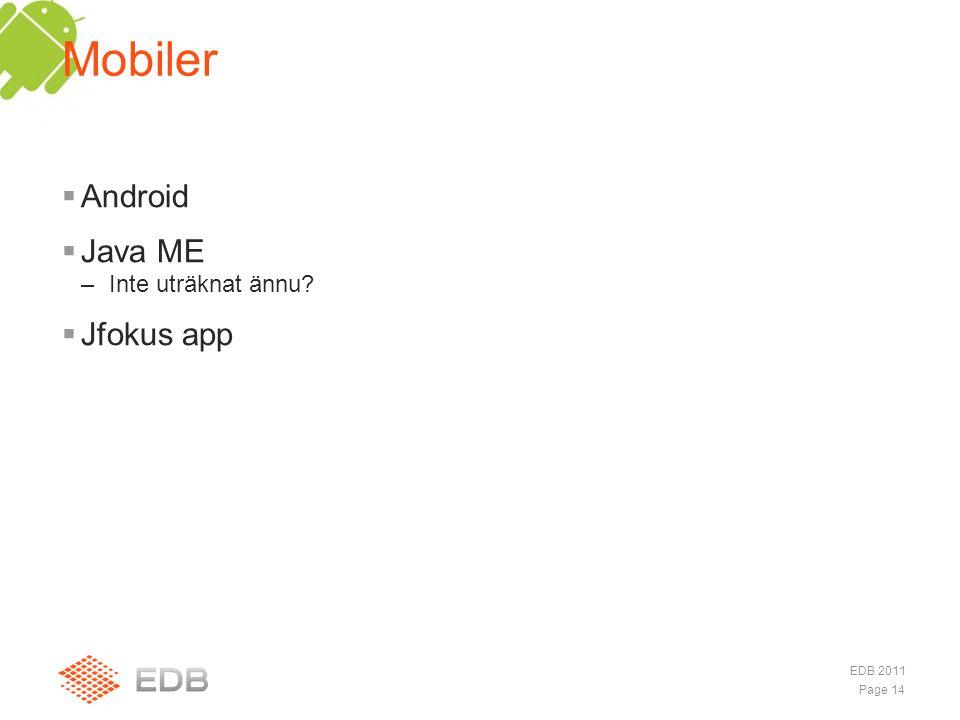  Android  Java ME –Inte uträknat ännu?  Jfokus app Mobiler Page 14 EDB 2011