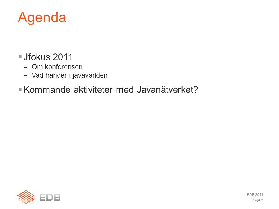  Jfokus 2011 –Om konferensen –Vad händer i javavärlden  Kommande aktiviteter med Javanätverket.