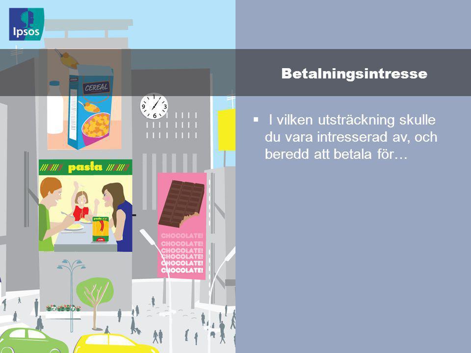 © 2011 Ipsos 134  I vilken utsträckning skulle du vara intresserad av, och beredd att betala för… Betalningsintresse