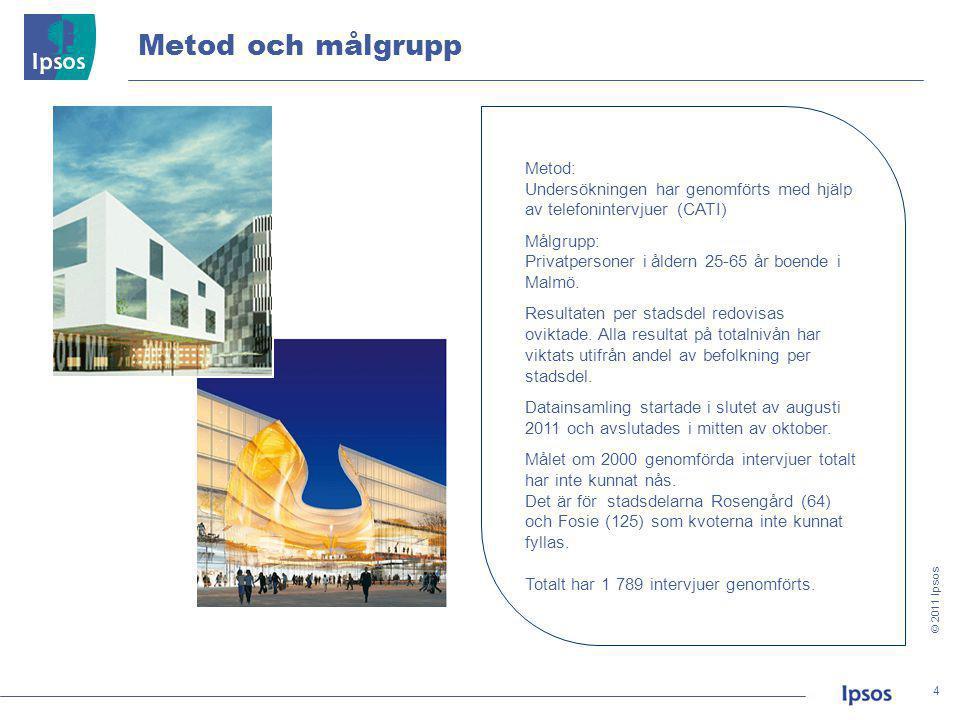 © 2011 Ipsos 55 I vilken utsträckning instämmer eller tar du avstånd ifrån följande påståenden gällande olika aspekter vid val av bostadsområde.