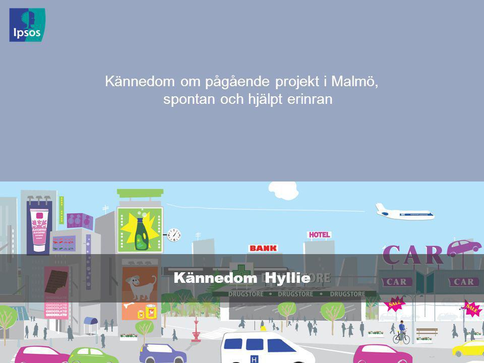 © 2011 Ipsos 5 Kännedom om pågående projekt i Malmö, spontan och hjälpt erinran Kännedom Hyllie