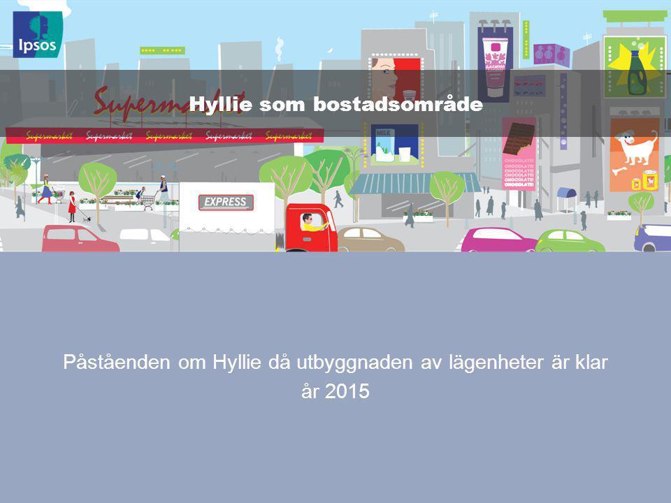 © 2011 Ipsos 87 Påståenden om Hyllie då utbyggnaden av lägenheter är klar år 2015 Hyllie som bostadsområde
