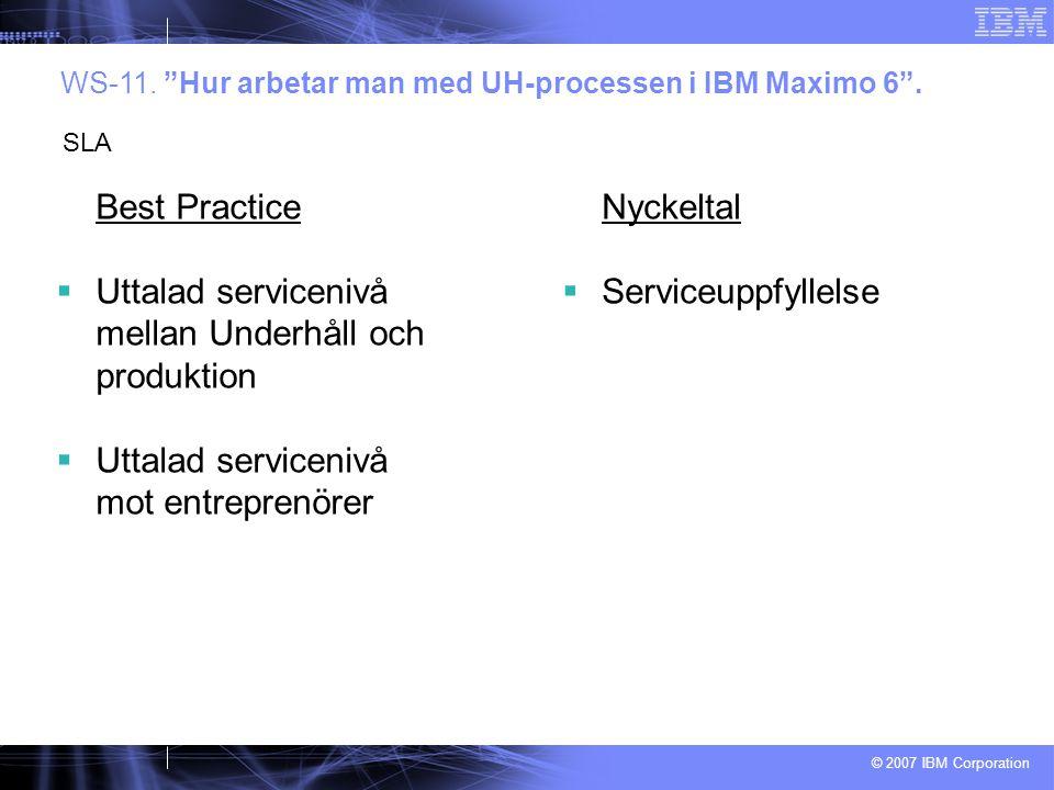 © 2007 IBM Corporation Best Practice  Uttalad servicenivå mellan Underhåll och produktion  Uttalad servicenivå mot entreprenörer WS-11.