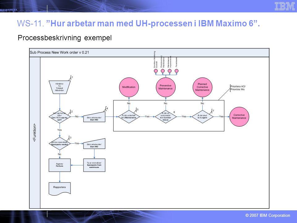 """© 2007 IBM Corporation WS-11. """"Hur arbetar man med UH-processen i IBM Maximo 6"""". Processbeskrivning exempel"""