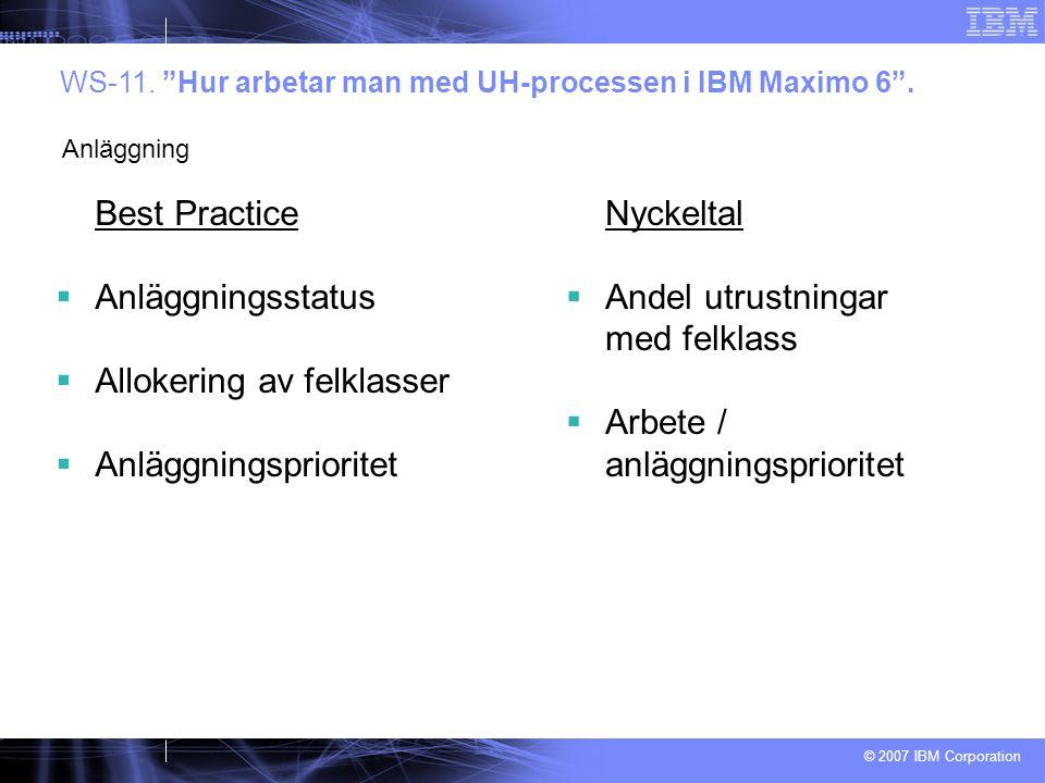 """© 2007 IBM Corporation Best Practice  Anläggningsstatus  Allokering av felklasser  Anläggningsprioritet WS-11. """"Hur arbetar man med UH-processen i"""