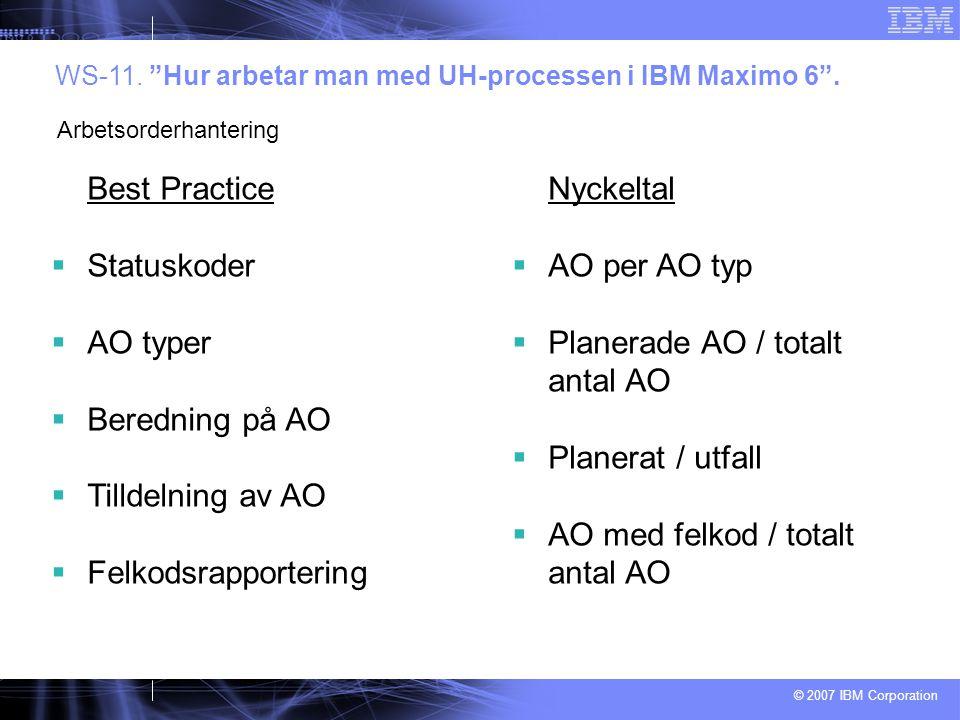 © 2007 IBM Corporation Best Practice  Statuskoder  AO typer  Beredning på AO  Tilldelning av AO  Felkodsrapportering WS-11.