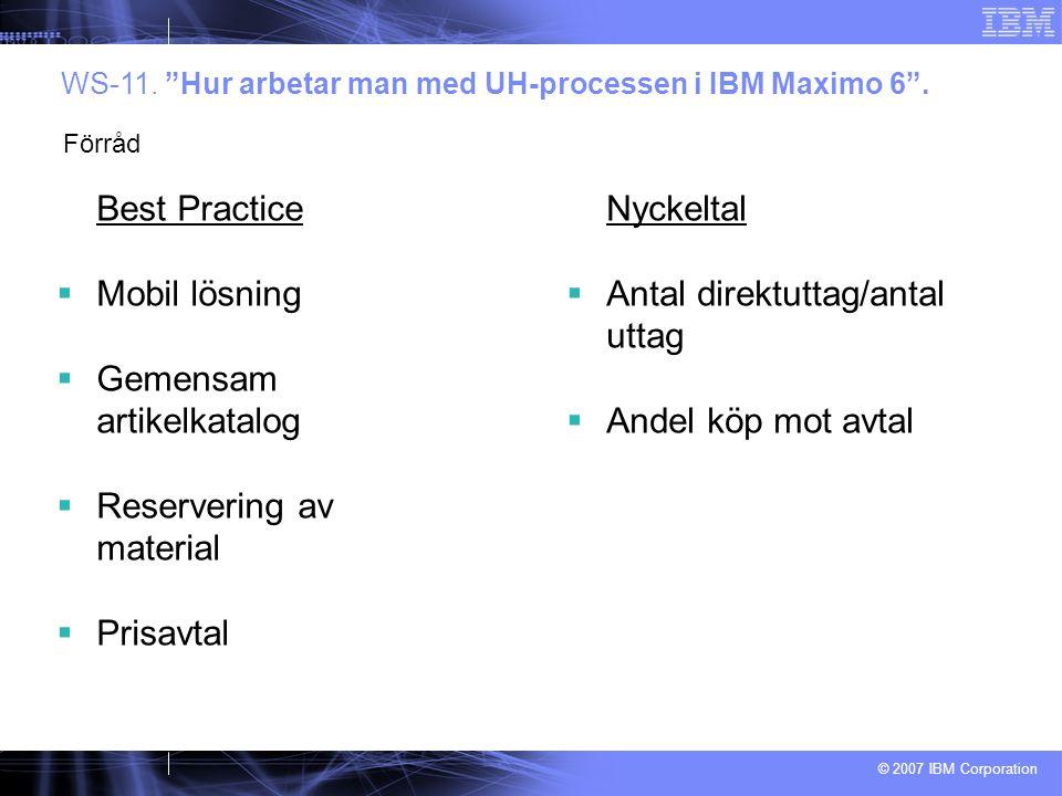 © 2007 IBM Corporation Best Practice  Mobil lösning  Gemensam artikelkatalog  Reservering av material  Prisavtal WS-11.