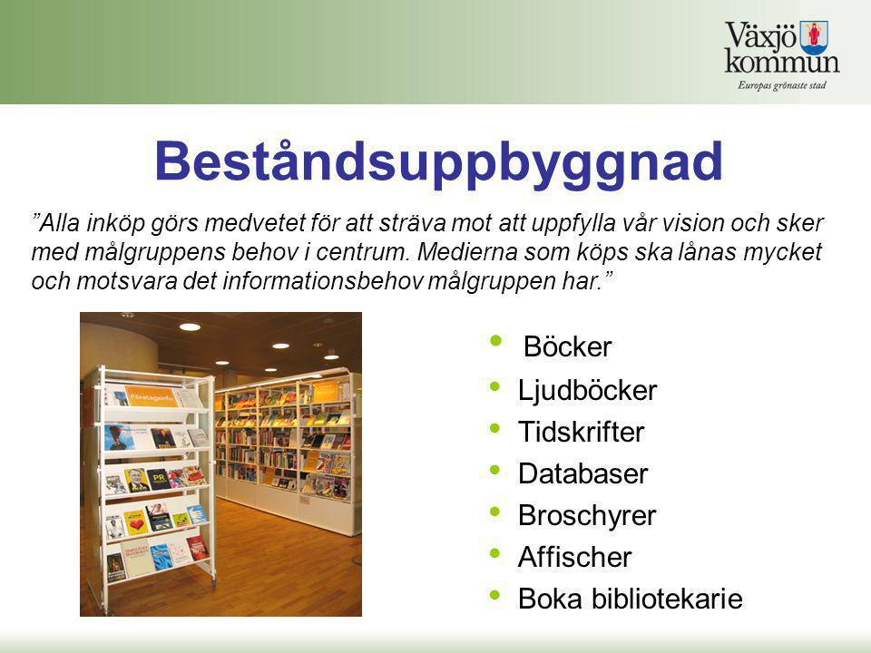 """Beståndsuppbyggnad • Böcker • Ljudböcker • Tidskrifter • Databaser • Broschyrer • Affischer • Boka bibliotekarie """"Alla inköp görs medvetet för att str"""