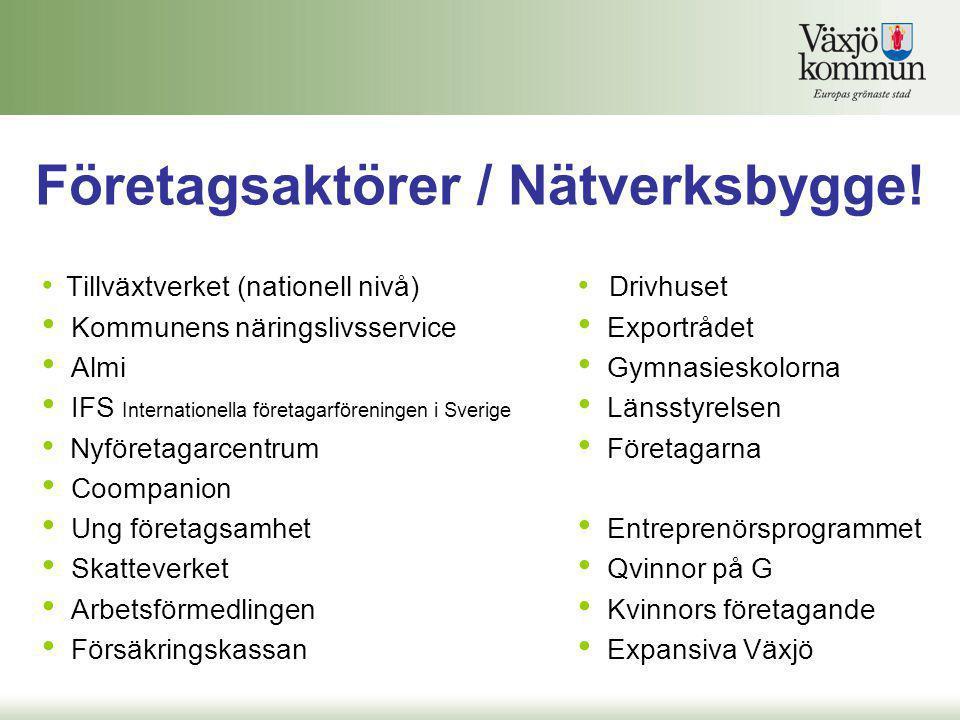 Företagsaktörer / Nätverksbygge! • Tillväxtverket (nationell nivå) • Kommunens näringslivsservice • Almi • IFS Internationella företagarföreningen i S