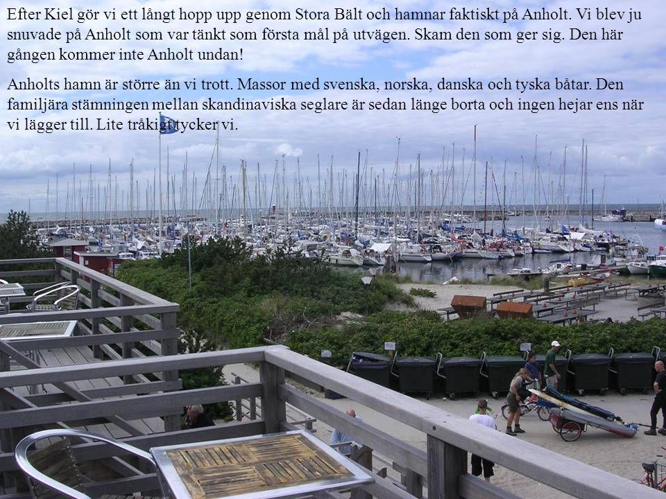 Efter Kiel gör vi ett långt hopp upp genom Stora Bält och hamnar faktiskt på Anholt.