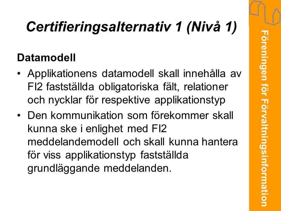 Föreningen för Förvaltningsinformation Certifieringsalternativ 1 (Nivå 1) Datamodell •Applikationens datamodell skall innehålla av FI2 fastställda obl