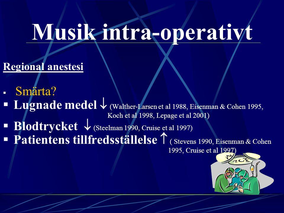 Musik intra-operativt Regional anestesi  Smärta?  Lugnade medel  (Walther-Larsen et al 1988, Eisenman & Cohen 1995, Koch et al 1998, Lepage et al 2