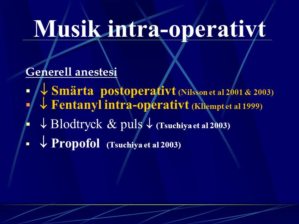 Musik intra-operativt Generell anestesi   Smärta postoperativt (Nilsson et al 2001 & 2003)   Fentanyl intra-operativt (Kliempt et al 1999)   Blodtryck & puls  (Tsuchiya et al 2003)   Propofol (Tsuchiya et al 2003)