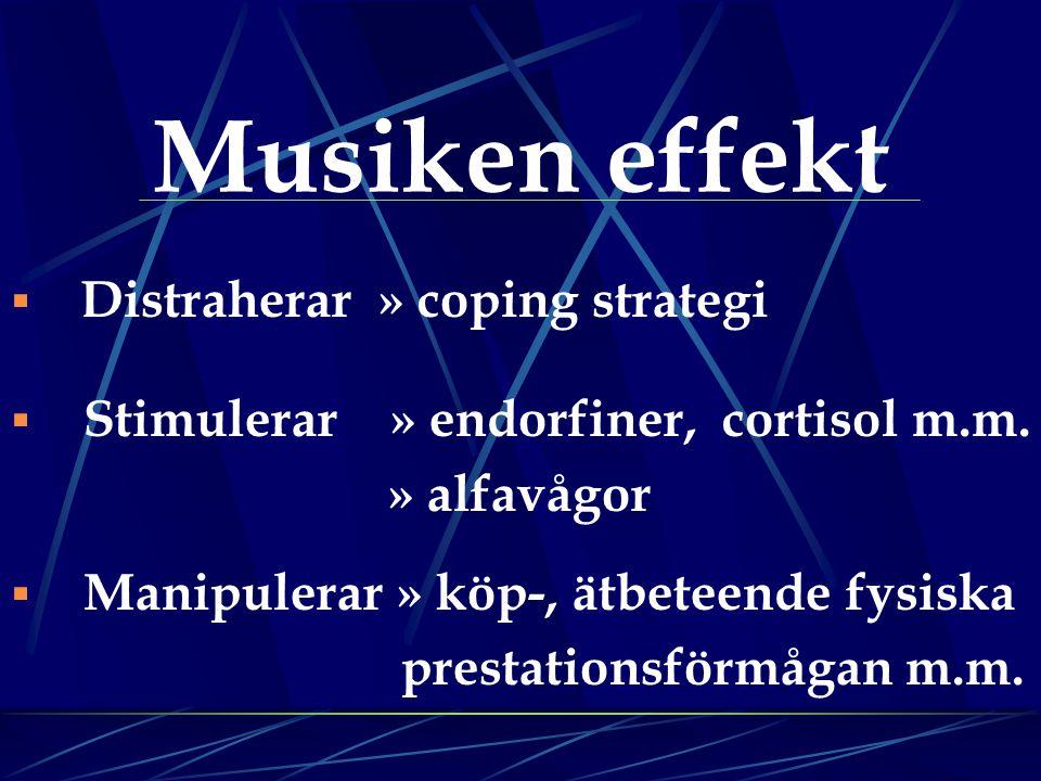 Musiken effekt  Distraherar » coping strategi  Stimulerar » endorfiner, cortisol m.m. » alfavågor  Manipulerar » köp-, ätbeteende fysiska prestatio