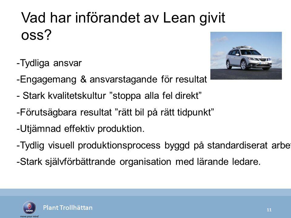 11 Plant Trollhättan -Tydliga ansvar -Engagemang & ansvarstagande för resultat - Stark kvalitetskultur stoppa alla fel direkt -Förutsägbara resultat rätt bil på rätt tidpunkt -Utjämnad effektiv produktion.
