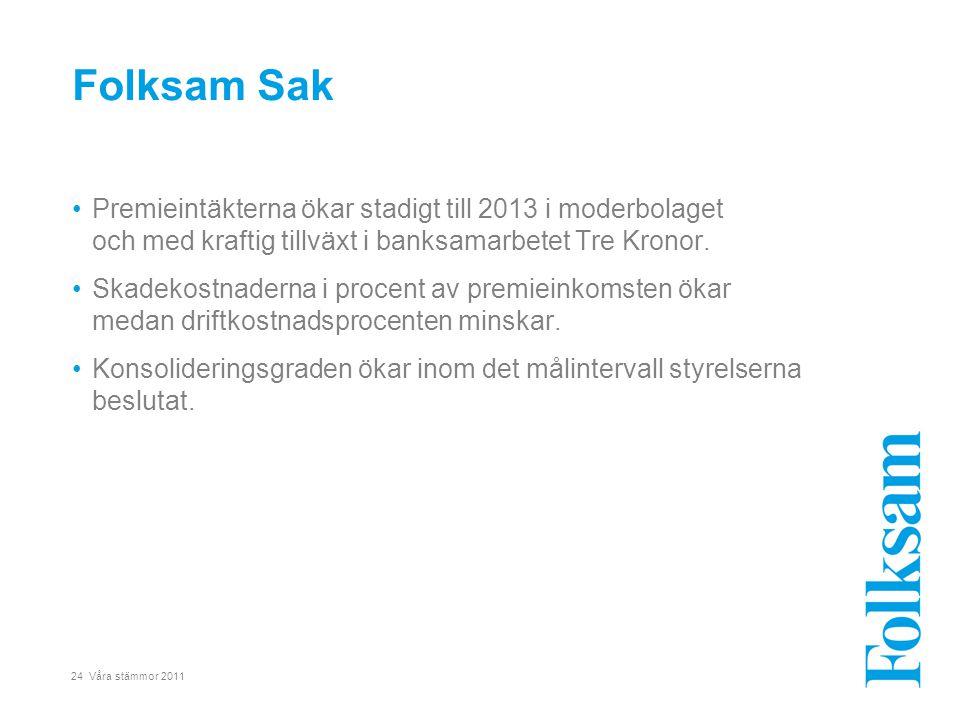 24 Våra stämmor 2011 •Premieintäkterna ökar stadigt till 2013 i moderbolaget och med kraftig tillväxt i banksamarbetet Tre Kronor. •Skadekostnaderna i