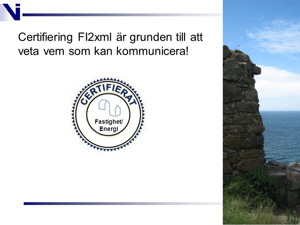 Certifiering FI2xml är grunden till att veta vem som kan kommunicera! Fastighet/ Energi