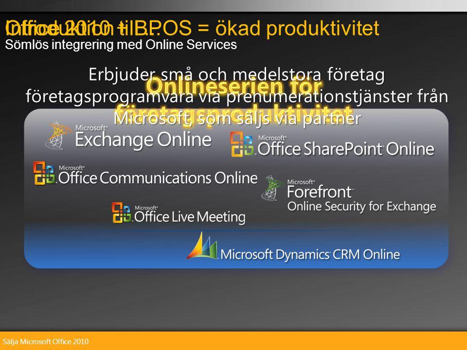 Sälja Microsoft Office 2010 Introduktion till...Office 2010 + BPOS = ökad produktivitet Sömlös integrering med Online Services Erbjuder små och medelstora företag företagsprogramvara via prenumerationstjänster från Microsoft, som säljs via partner