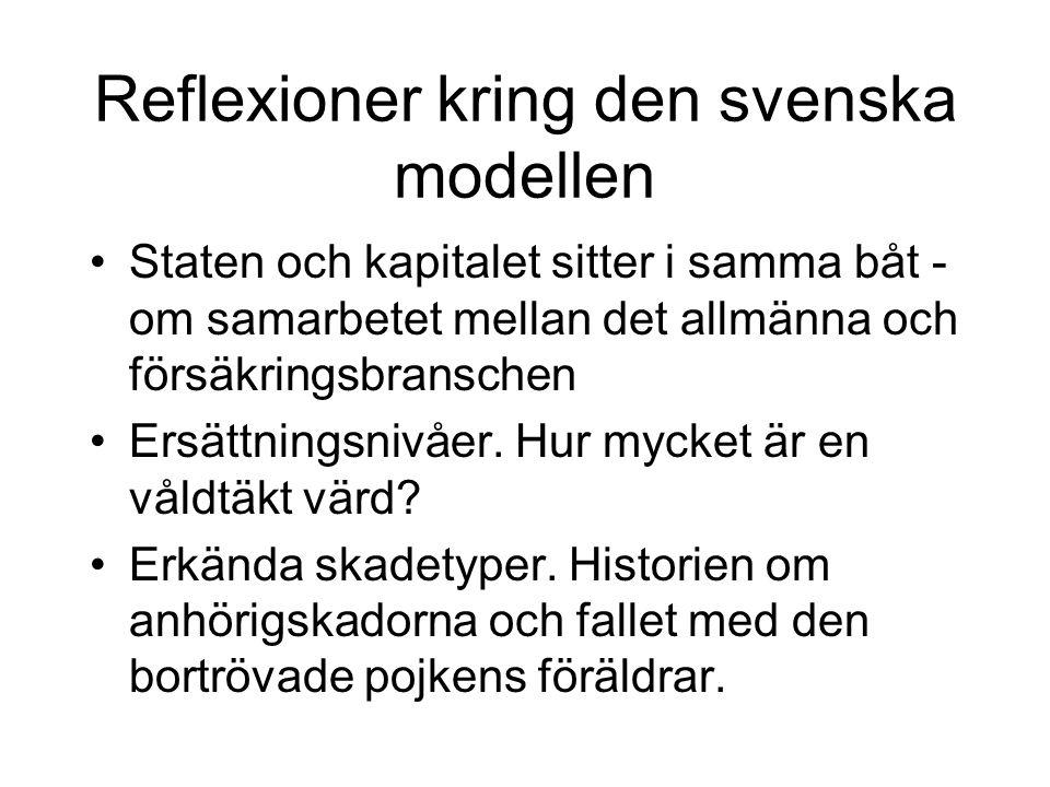 Reflexioner kring den svenska modellen •Staten och kapitalet sitter i samma båt - om samarbetet mellan det allmänna och försäkringsbranschen •Ersättningsnivåer.