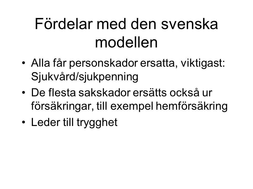 Fördelar med den svenska modellen •Alla får personskador ersatta, viktigast: Sjukvård/sjukpenning •De flesta sakskador ersätts också ur försäkringar, till exempel hemförsäkring •Leder till trygghet