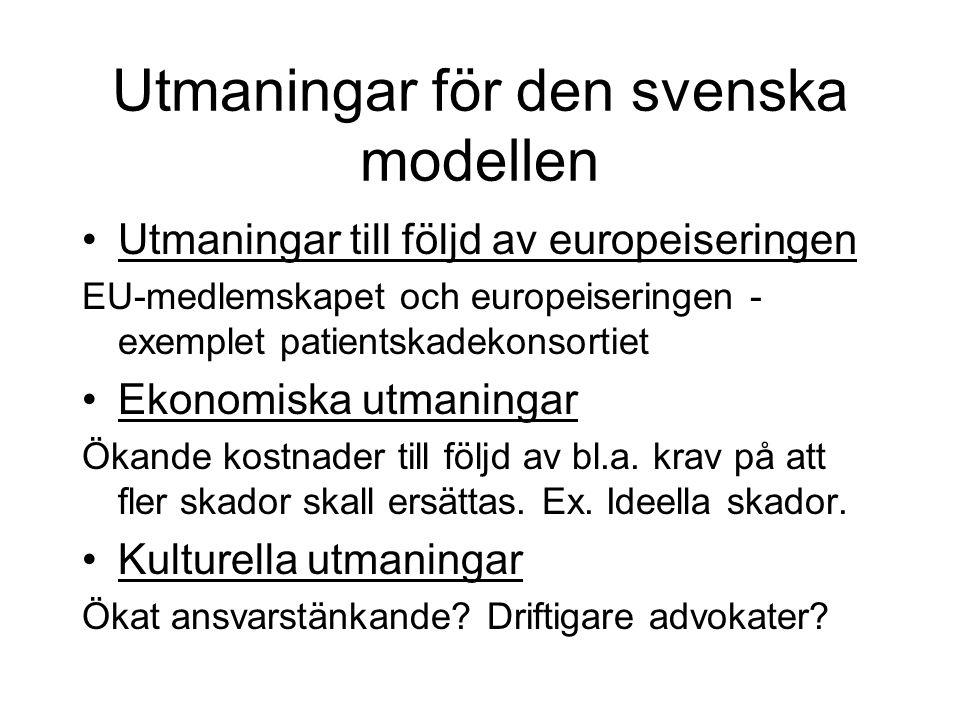 Utmaningar för den svenska modellen •Utmaningar till följd av europeiseringen EU-medlemskapet och europeiseringen - exemplet patientskadekonsortiet •E