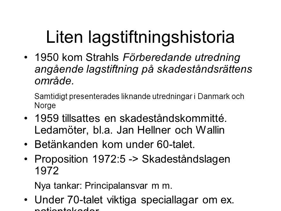 Liten lagstiftningshistoria •1950 kom Strahls Förberedande utredning angående lagstiftning på skadeståndsrättens område.