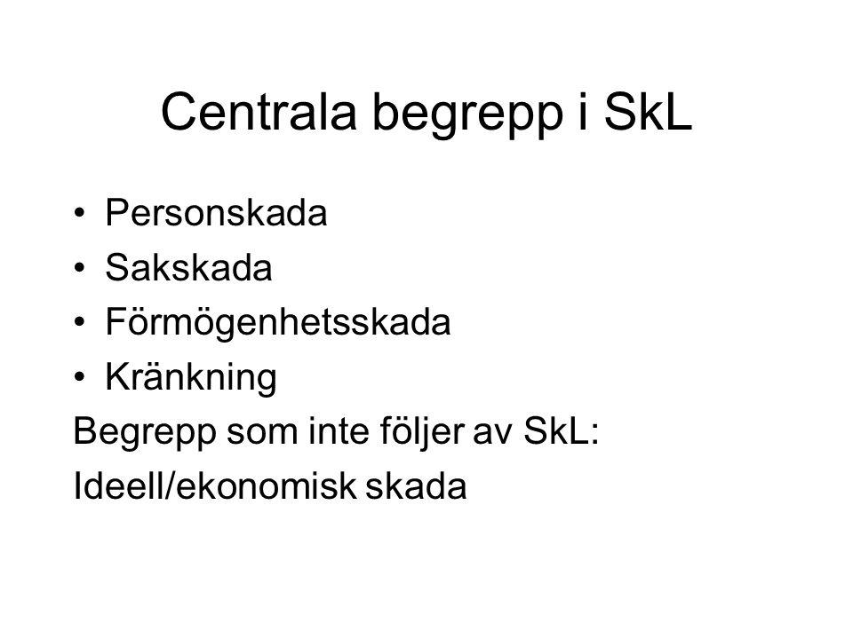 Centrala begrepp i SkL •Personskada •Sakskada •Förmögenhetsskada •Kränkning Begrepp som inte följer av SkL: Ideell/ekonomisk skada