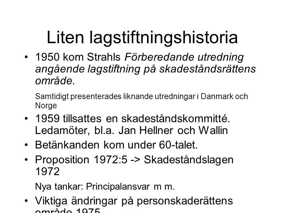 Liten lagstiftningshistoria •1950 kom Strahls Förberedande utredning angående lagstiftning på skadeståndsrättens område. Samtidigt presenterades likna