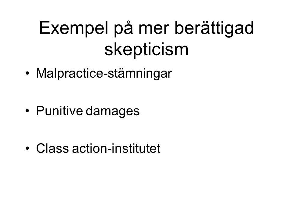 Exempel på mer berättigad skepticism •Malpractice-stämningar •Punitive damages •Class action-institutet