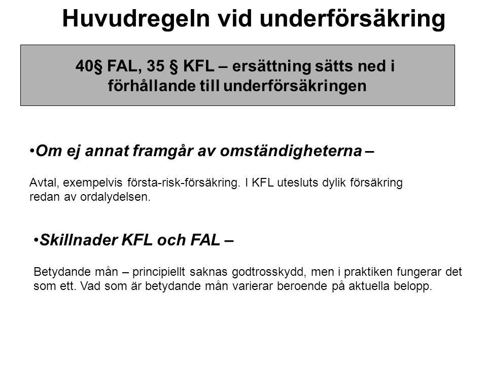 Huvudregeln vid underförsäkring •Skillnader KFL och FAL – Betydande mån – principiellt saknas godtrosskydd, men i praktiken fungerar det som ett. Vad
