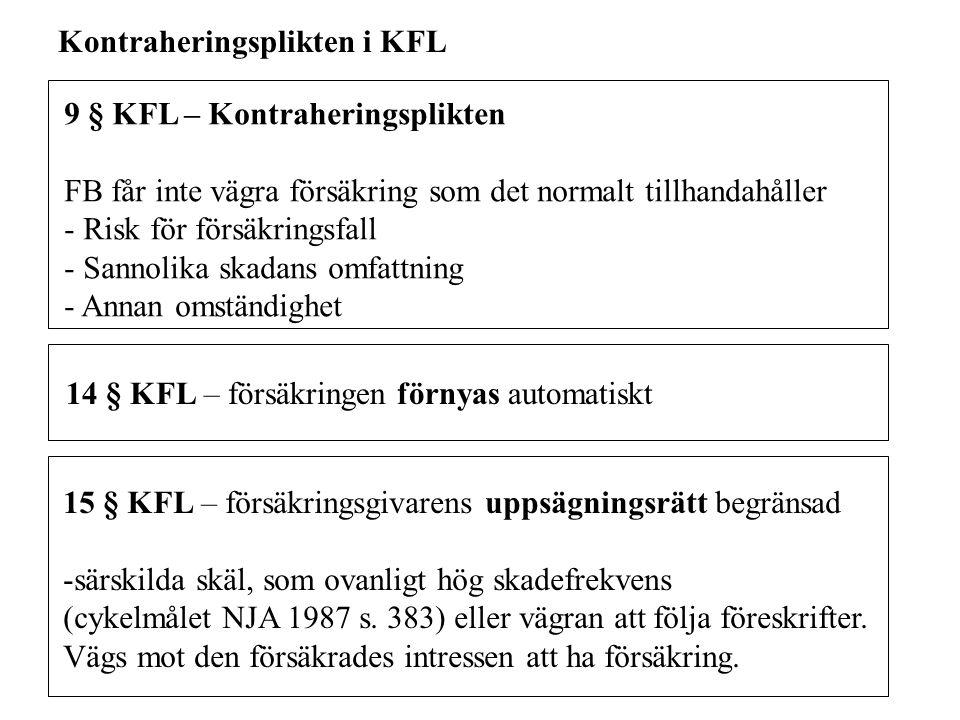 9 § KFL – Kontraheringsplikten FB får inte vägra försäkring som det normalt tillhandahåller - Risk för försäkringsfall - Sannolika skadans omfattning