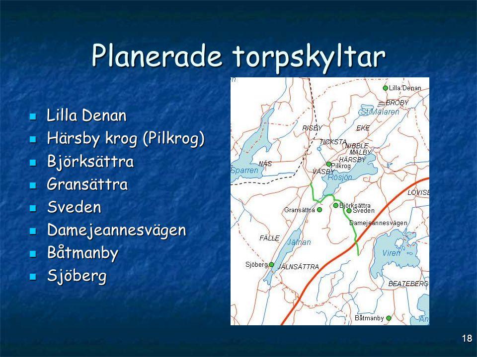 18 Planerade torpskyltar  Lilla Denan  Härsby krog (Pilkrog)  Björksättra  Gransättra  Sveden  Damejeannesvägen  Båtmanby  Sjöberg