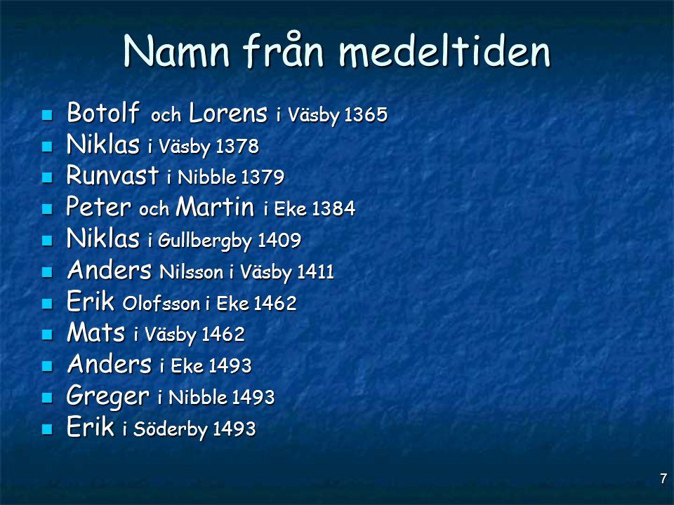 7 Namn från medeltiden  Botolf och Lorens i Väsby 1365  Niklas i Väsby 1378  Runvast i Nibble 1379  Peter och Martin i Eke 1384  Niklas i Gullber