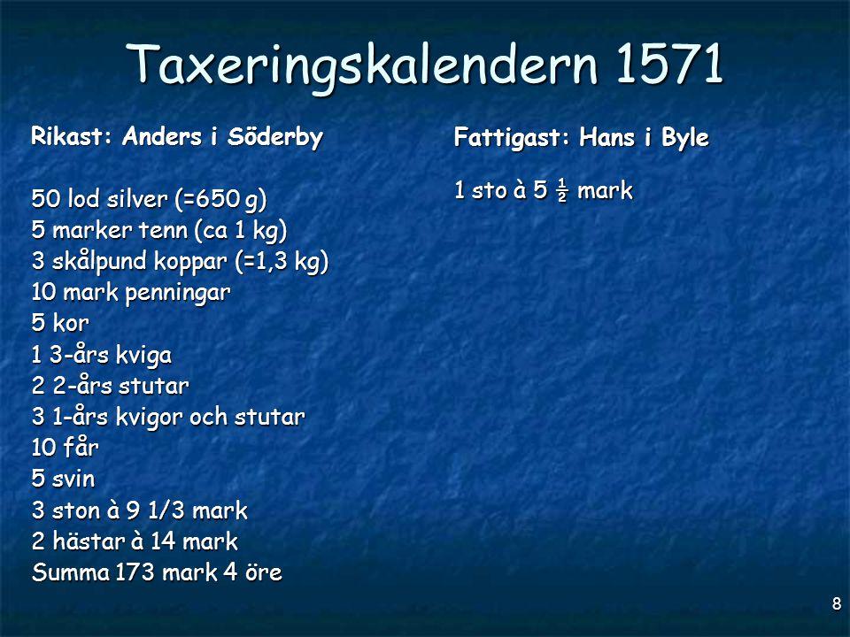 8 Taxeringskalendern 1571 Rikast: Anders i Söderby 50 lod silver (=650 g) 5 marker tenn (ca 1 kg) 3 skålpund koppar (=1,3 kg) 10 mark penningar 5 kor