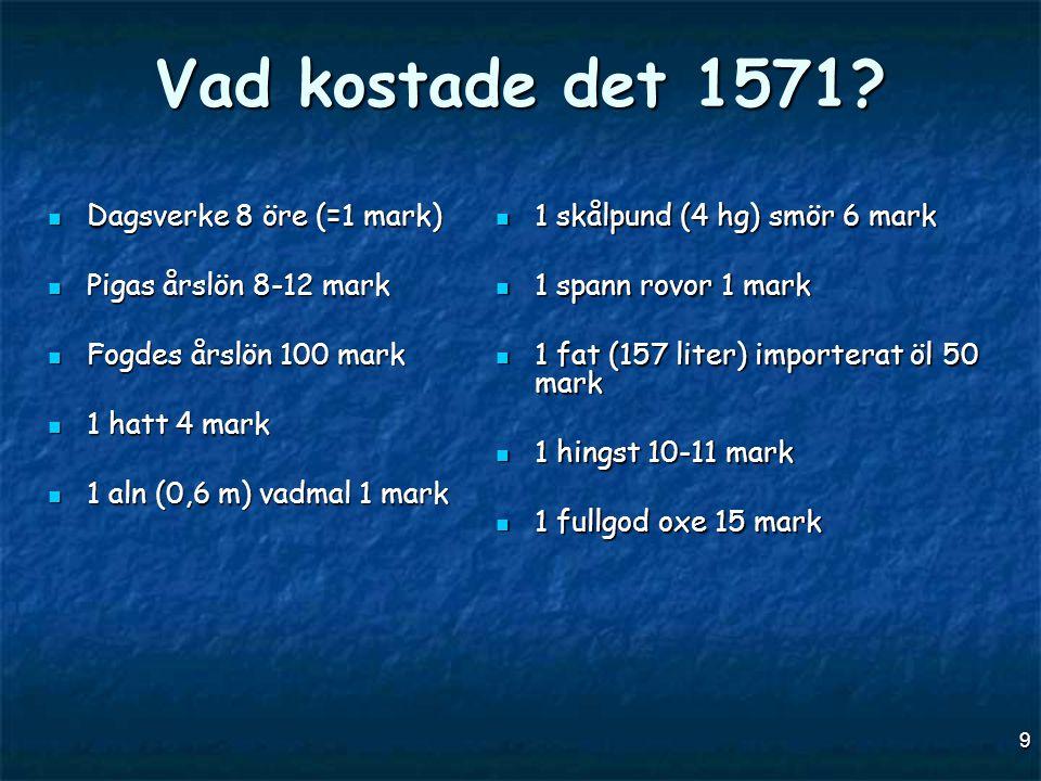 9 Vad kostade det 1571?  Dagsverke 8 öre (=1 mark)  Pigas årslön 8-12 mark  Fogdes årslön 100 mark  1 hatt 4 mark  1 aln (0,6 m) vadmal 1 mark 