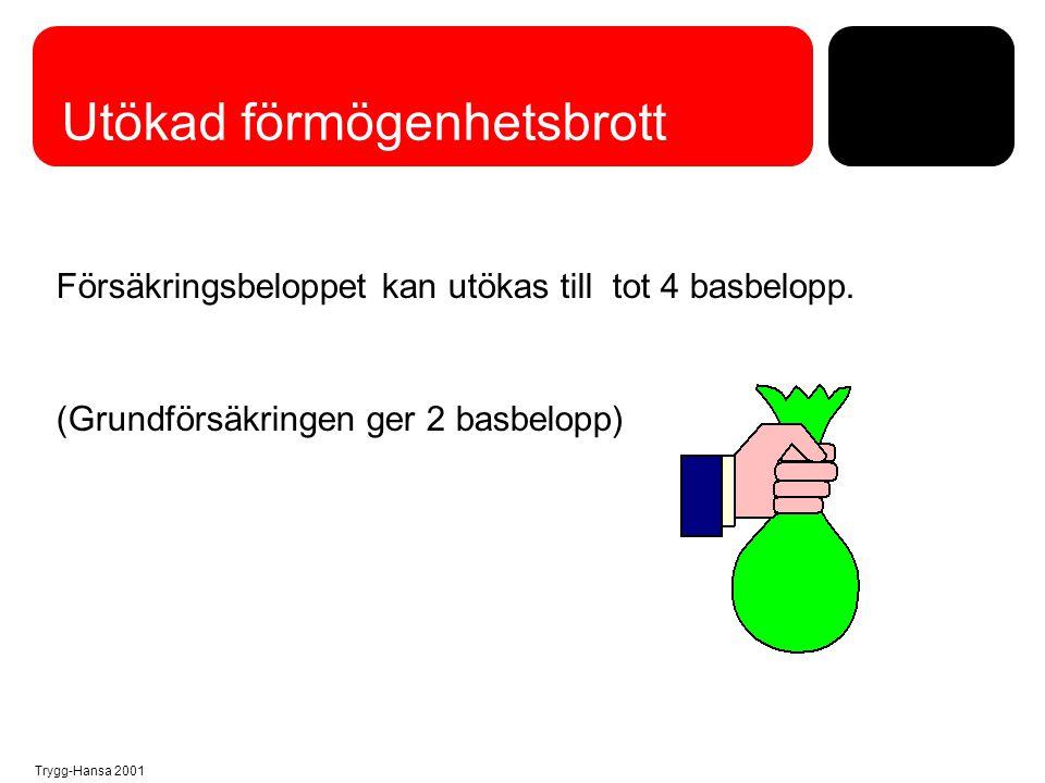 Trygg-Hansa 2001 Utökad förmögenhetsbrott Försäkringsbeloppet kan utökas till tot 4 basbelopp. (Grundförsäkringen ger 2 basbelopp)