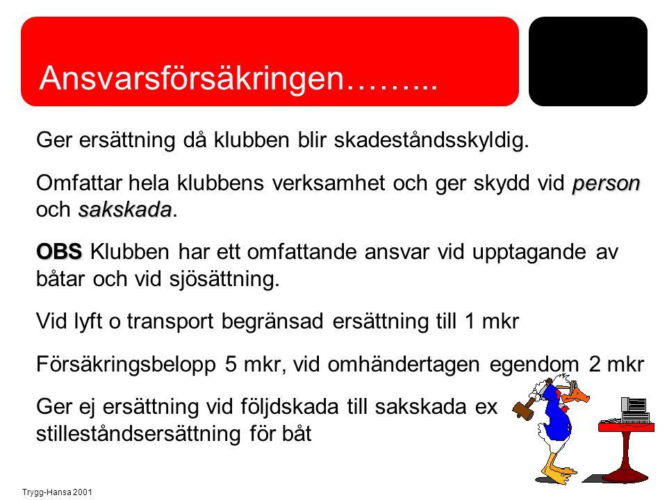 Trygg-Hansa 2001 Olycksfallsförsäkringens omfattning 1.