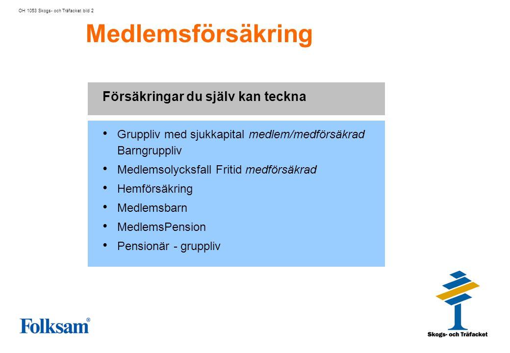 Medlemsförsäkring OH 1053 Skogs- och Träfacket bild 3 Gruppliv med sjukkapital Dödsfallskapital 3 prisbasbelopp (ingen hälsoförklaring) Sjukkapital 1 10% av försäkringsbeloppet.